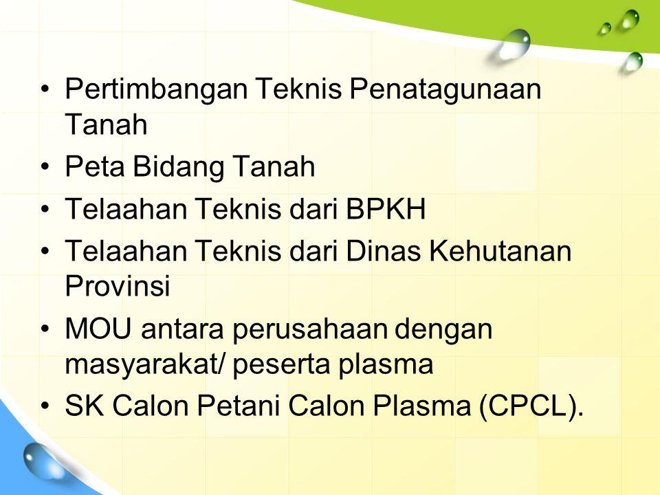 Pertimbangan Teknis Penatagunaan Tanah Peta Bidang Tanah Telaahan Teknis dari BPKH Telaahan Teknis dari Dinas Kehutanan Provinsi MOU antara perusahaan