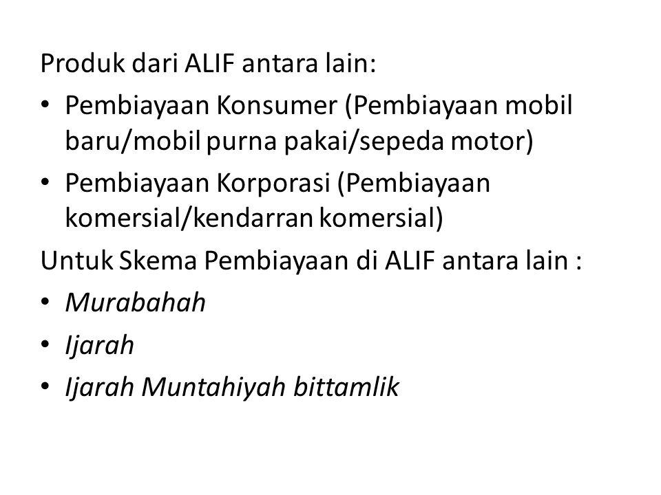 Produk dari ALIF antara lain: Pembiayaan Konsumer (Pembiayaan mobil baru/mobil purna pakai/sepeda motor) Pembiayaan Korporasi (Pembiayaan komersial/ke