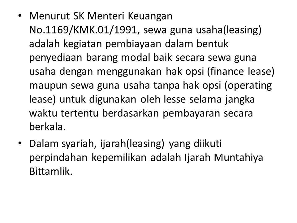 Menurut SK Menteri Keuangan No.1169/KMK.01/1991, sewa guna usaha(leasing) adalah kegiatan pembiayaan dalam bentuk penyediaan barang modal baik secara