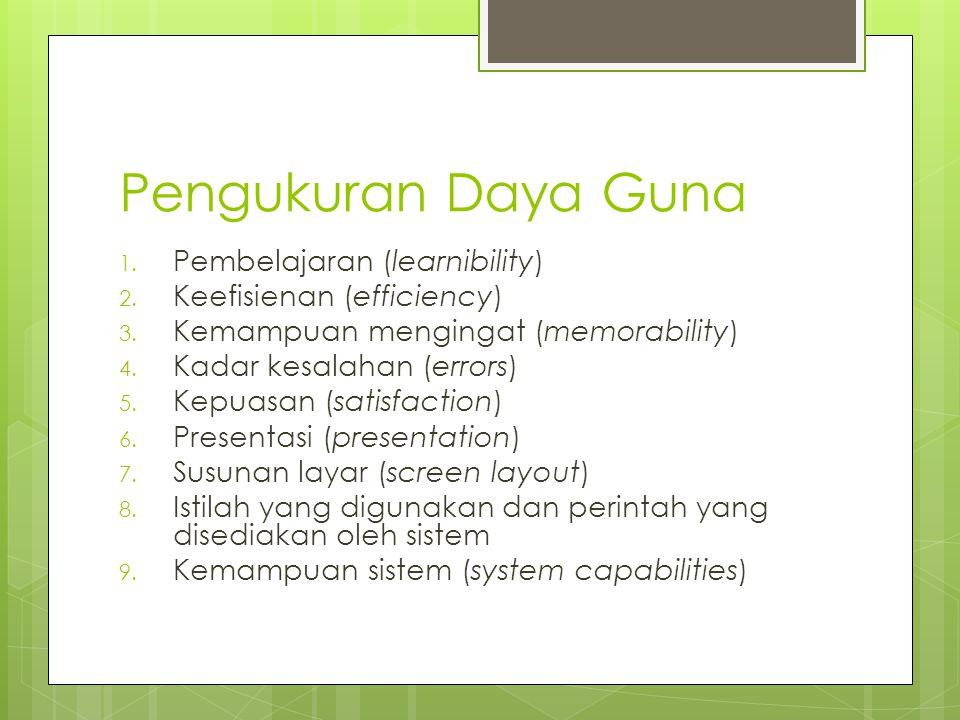 Pengukuran Daya Guna 1.Pembelajaran (learnibility) 2.