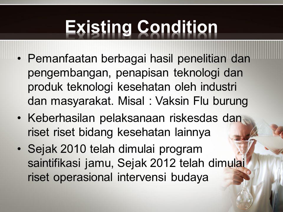Masih rendahnya penguasaan dan penerapan teknologi kesehatan oleh SDMK Indonesia Masih rendahnya kontribusi hasil litbankes bagi pembangunan kesehatan Masih lemahnya sinergi kebijakan pemanfaatan hasil litbangkes bg pembangunan kesehatan Terbatasnya SDMK dengan kompetensi profesi peneliti kesehatan