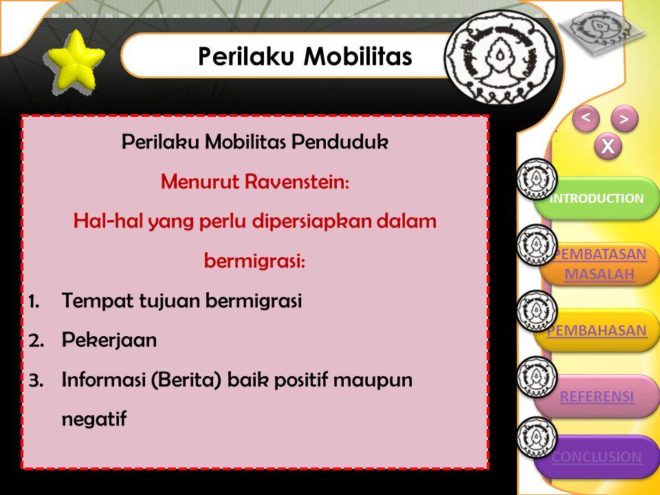 > > INTRODUCTION > > Perilaku Mobilitas CONCLUSION PEMBATASAN MASALAH PEMBATASAN MASALAH PEMBAHASAN REFERENSI REFERENSI Perilaku Mobilitas Penduduk Me