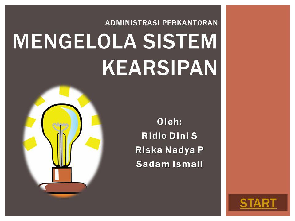 Oleh: Ridlo Dini S Riska Nadya P Sadam Ismail ADMINISTRASI PERKANTORAN MENGELOLA SISTEM KEARSIPAN START