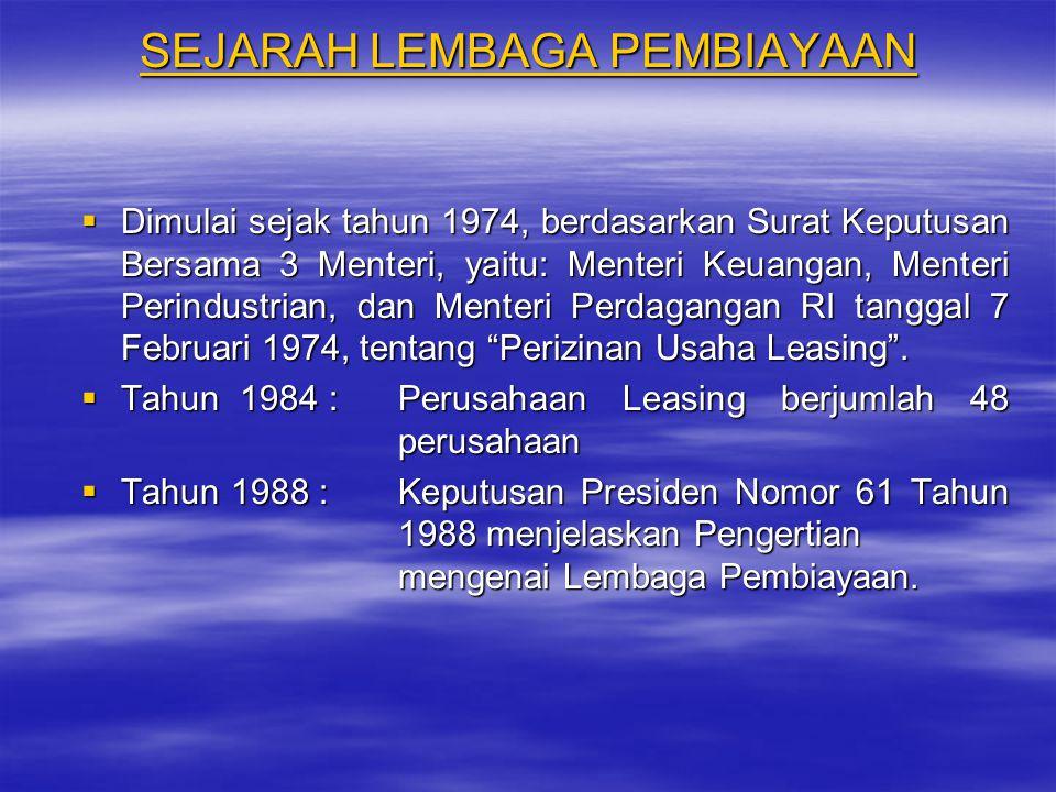 SEJARAH LEMBAGA PEMBIAYAAN  Dimulai sejak tahun 1974, berdasarkan Surat Keputusan Bersama 3 Menteri, yaitu: Menteri Keuangan, Menteri Perindustrian,
