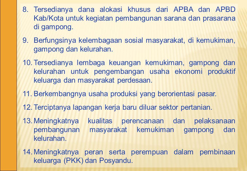 8.Tersedianya dana alokasi khusus dari APBA dan APBD Kab/Kota untuk kegiatan pembangunan sarana dan prasarana di gampong. 9.Berfungsinya kelembagaan s