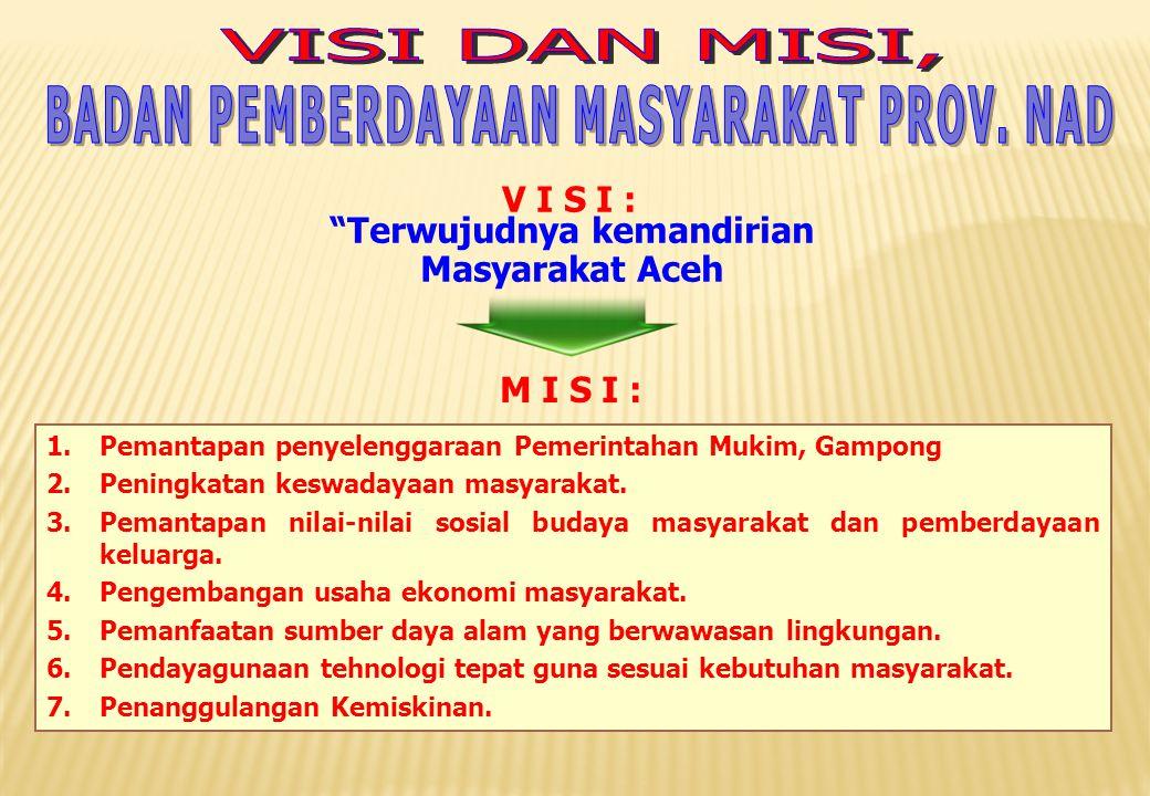 """M I S I : V I S I : """"Terwujudnya kemandirian Masyarakat Aceh 1.Pemantapan penyelenggaraan Pemerintahan Mukim, Gampong 2.Peningkatan keswadayaan masyar"""