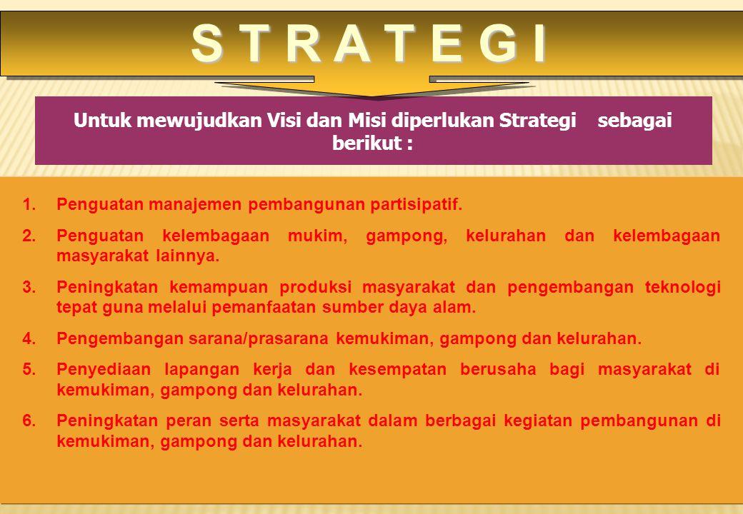 Untuk mewujudkan Visi dan Misi diperlukan Strategi sebagai berikut : 1.Penguatan manajemen pembangunan partisipatif. 2.Penguatan kelembagaan mukim, ga