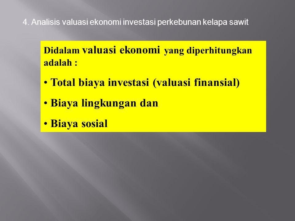 4. Analisis valuasi ekonomi investasi perkebunan kelapa sawit Didalam valuasi ekonomi yang diperhitungkan adalah : Total biaya investasi (valuasi fina
