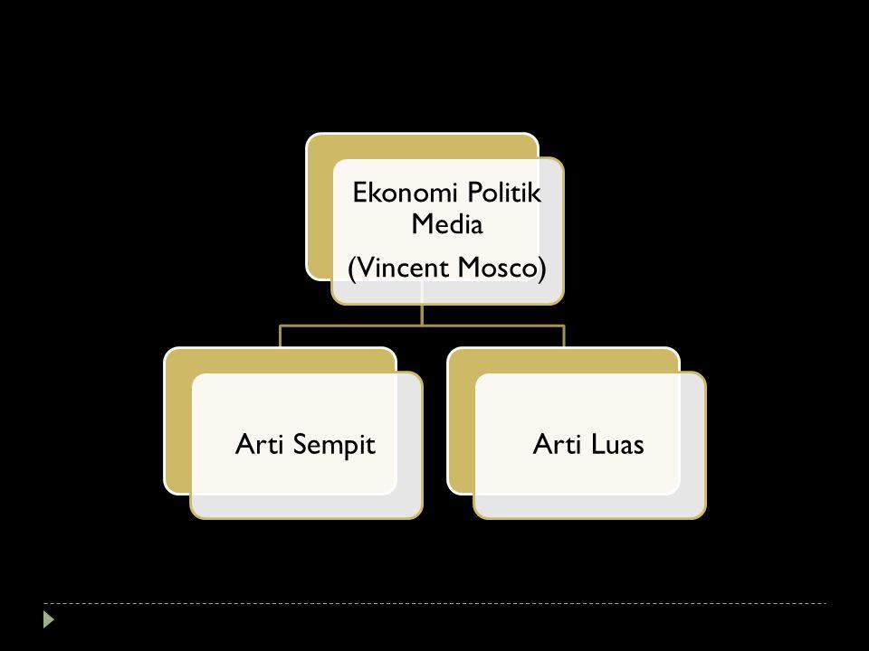 Ekonomi Politik Media (Vincent Mosco) Arti SempitArti Luas
