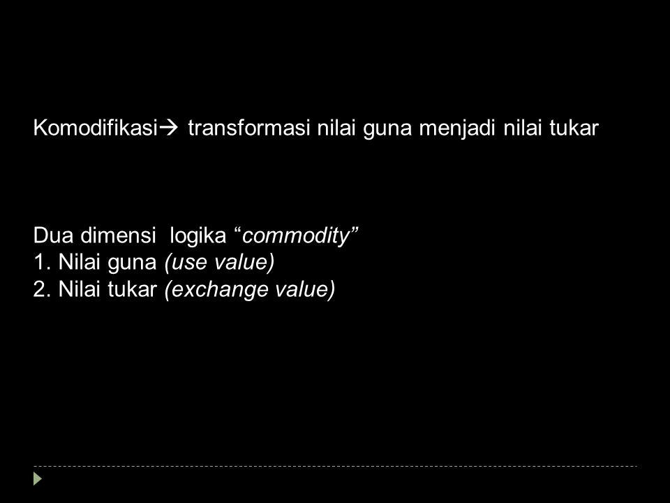 """Komodifikasi  transformasi nilai guna menjadi nilai tukar Dua dimensi logika """"commodity"""" 1.Nilai guna (use value) 2.Nilai tukar (exchange value)"""