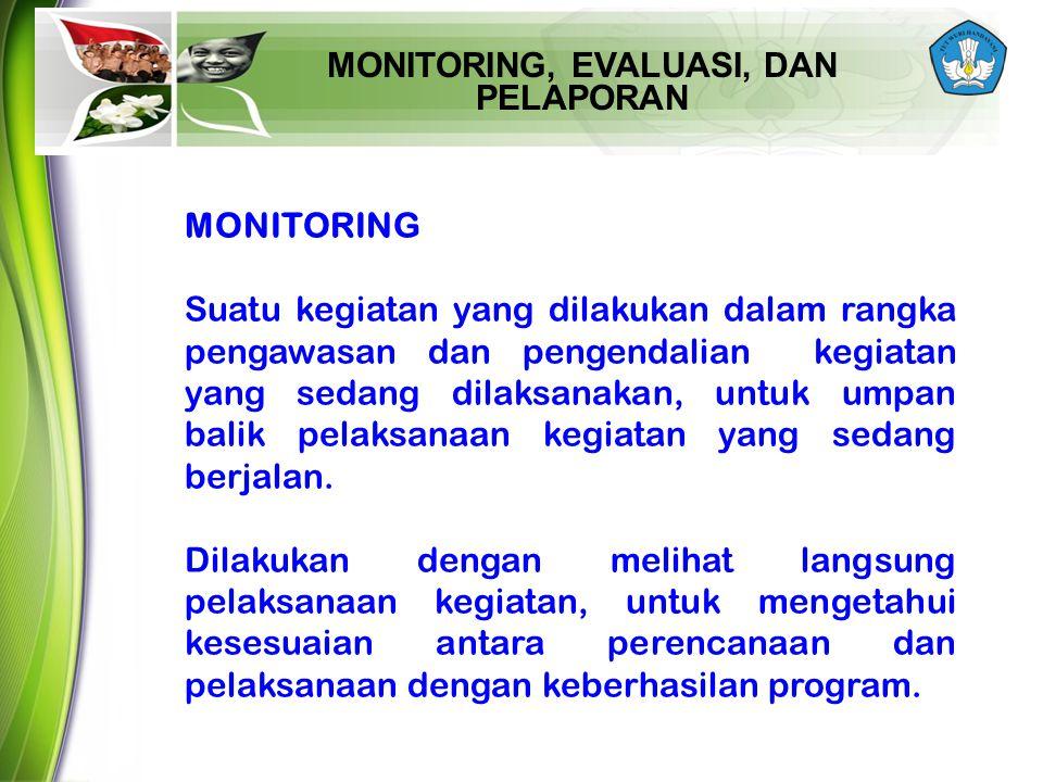 MONITORING, EVALUASI, DAN PELAPORAN MONITORING Suatu kegiatan yang dilakukan dalam rangka pengawasan dan pengendalian kegiatan yang sedang dilaksanaka