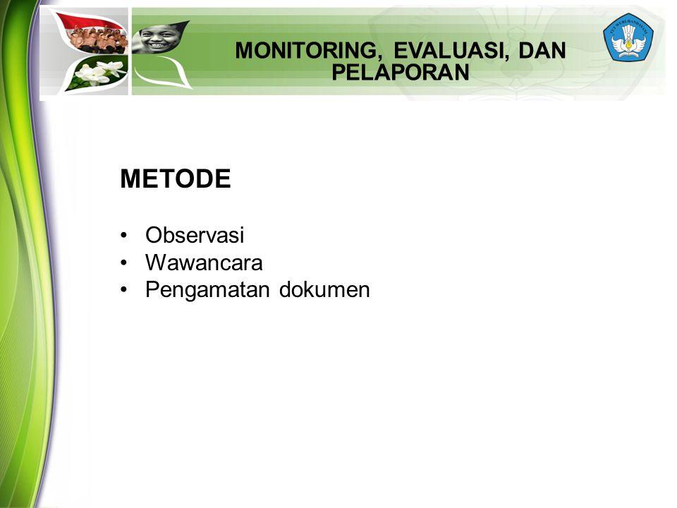 MONITORING, EVALUASI, DAN PELAPORAN METODE Observasi Wawancara Pengamatan dokumen
