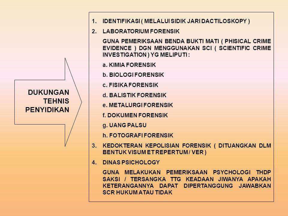 DUKUNGAN TEHNIS PENYIDIKAN 1.IDENTIFIKASI ( MELALUI SIDIK JARI DACTILOSKOPY ) 2.LABORATORIUM FORENSIK GUNA PEMERIKSAAN BENDA BUKTI MATI ( PHISICAL CRIME EVIDENCE ) DGN MENGGUNAKAN SCI ( SCIENTIFIC CRIME INVESTIGATION ) YG MELIPUTI : a.