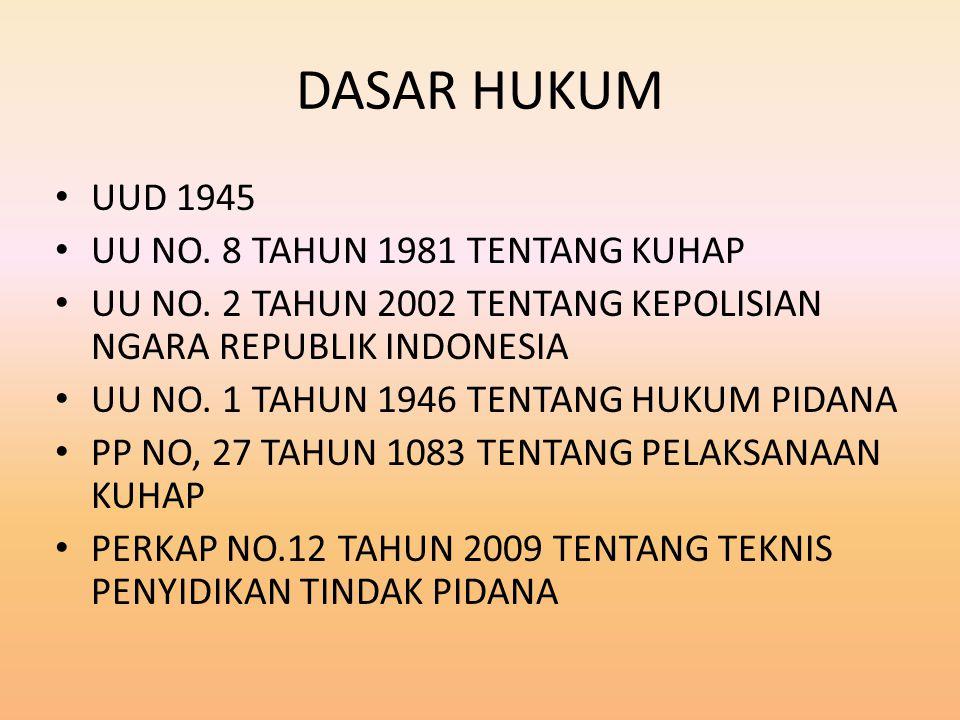 DASAR HUKUM UUD 1945 UU NO.8 TAHUN 1981 TENTANG KUHAP UU NO.