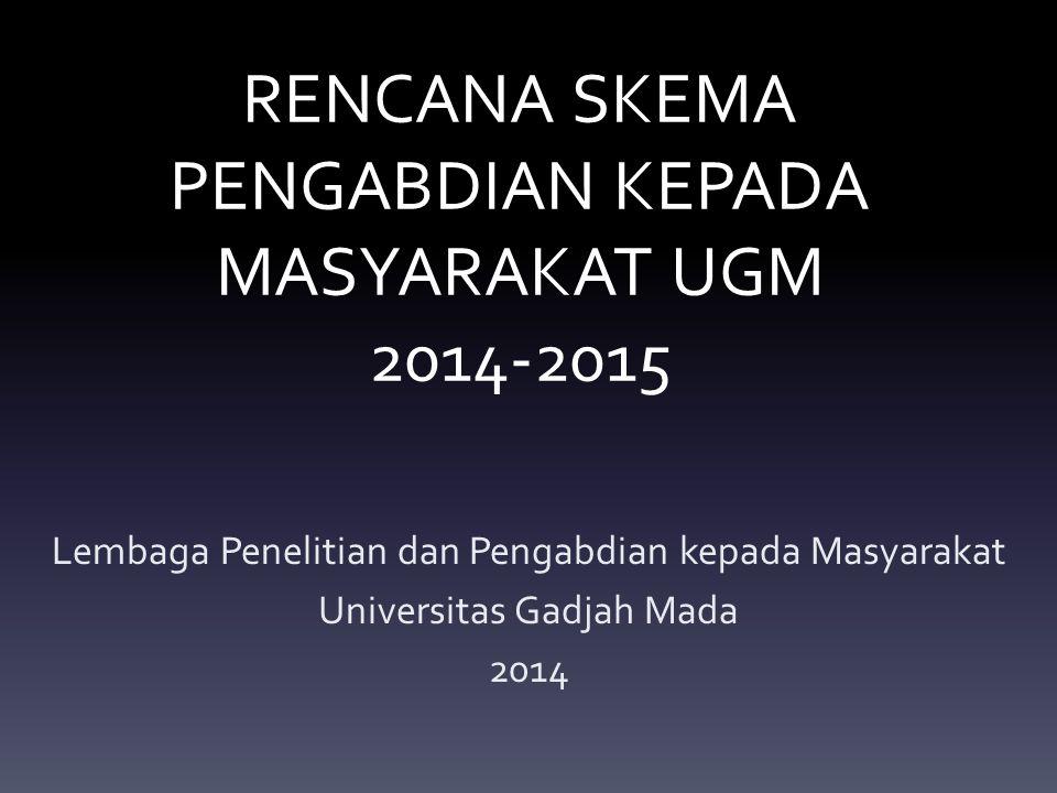 RENCANA SKEMA PENGABDIAN KEPADA MASYARAKAT UGM 2014-2015 Lembaga Penelitian dan Pengabdian kepada Masyarakat Universitas Gadjah Mada 2014
