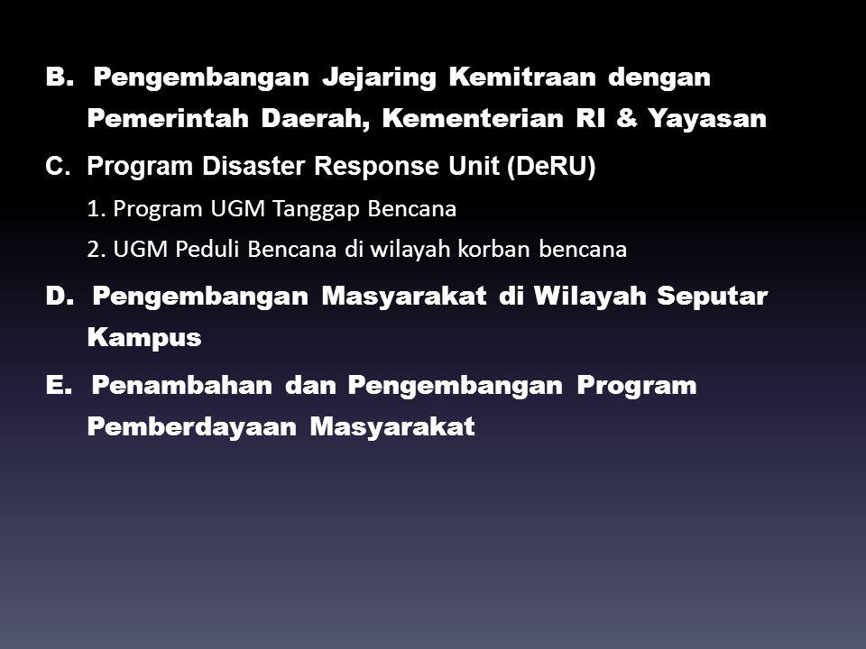 B. Pengembangan Jejaring Kemitraan dengan Pemerintah Daerah, Kementerian RI & Yayasan C. Program Disaster Response Unit (DeRU) 1. Program UGM Tanggap