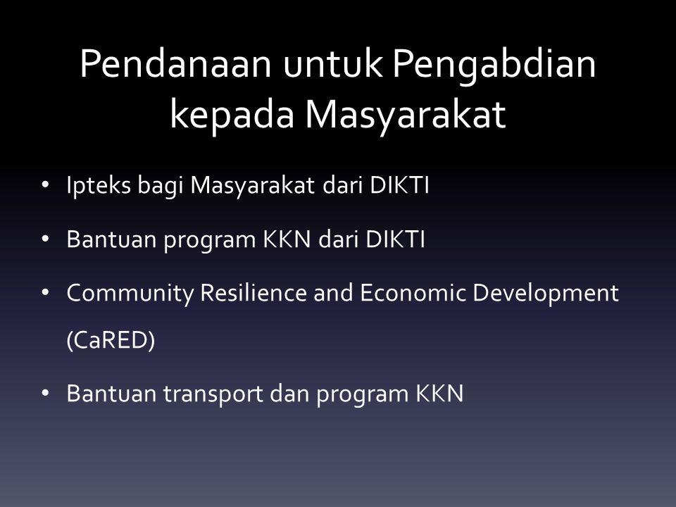 Pendanaan untuk Pengabdian kepada Masyarakat Ipteks bagi Masyarakat dari DIKTI Bantuan program KKN dari DIKTI Community Resilience and Economic Develo