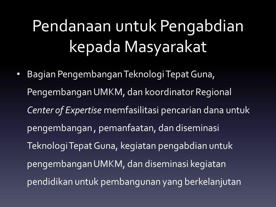 Pendanaan untuk Pengabdian kepada Masyarakat Bagian Pengembangan Teknologi Tepat Guna, Pengembangan UMKM, dan koordinator Regional Center of Expertise