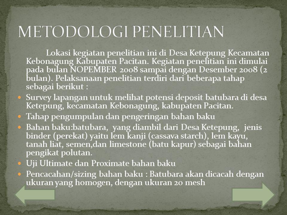 Lokasi kegiatan penelitian ini di Desa Ketepung Kecamatan Kebonagung Kabupaten Pacitan. Kegiatan penelitian ini dimulai pada bulan NOPEMBER 2008 sampa