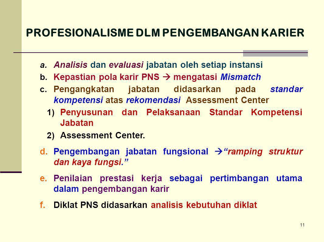 11 a. Analisis dan evaluasi jabatan oleh setiap instansi b. Kepastian pola karir PNS  mengatasi Mismatch c. Pengangkatan jabatan didasarkan pada stan
