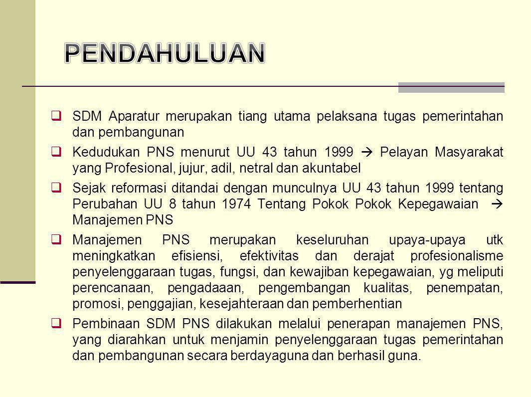 SDM Aparatur merupakan tiang utama pelaksana tugas pemerintahan dan pembangunan  Kedudukan PNS menurut UU 43 tahun 1999  Pelayan Masyarakat yang P