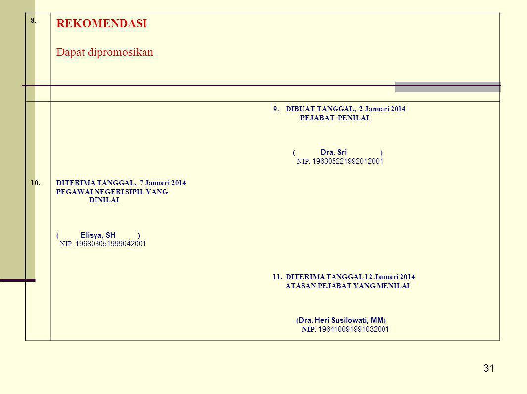31 8. REKOMENDASI Dapat dipromosikan 9. DIBUAT TANGGAL, 2 Januari 2014 PEJABAT PENILAI ( Dra. Sri ) NIP. 196305221992012001 10.DITERIMA TANGGAL, 7 Jan