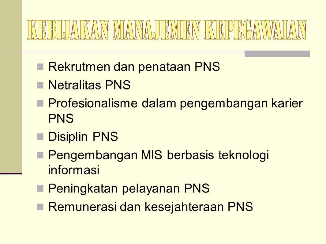 Rekrutmen dan penataan PNS Netralitas PNS Profesionalisme dalam pengembangan karier PNS Disiplin PNS Pengembangan MIS berbasis teknologi informasi Pen