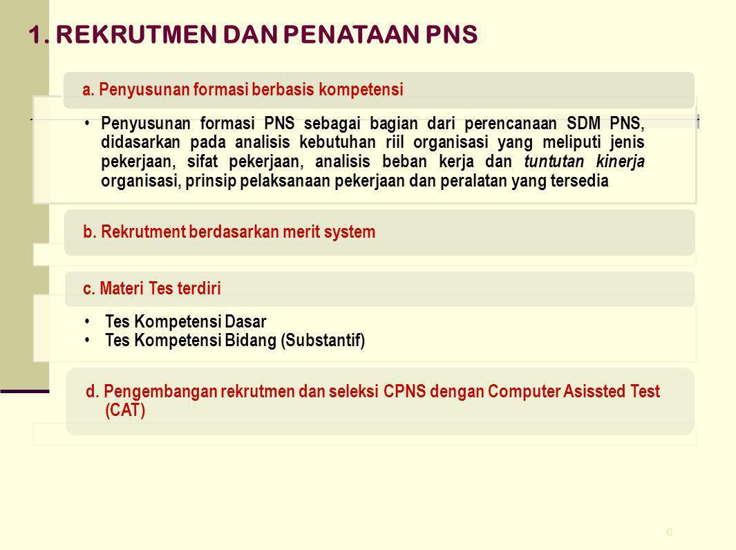 6 1.REKRUTMEN DAN PENATAAN PNS Penyusunan formasi PNS sebagai bagian dari perencanaan SDM PNS, didasarkan pada analisis kebutuhan riil organisasi yang