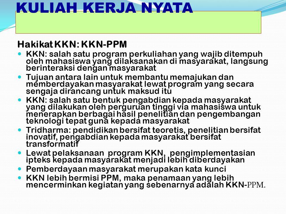 KULIAH KERJA NYATA Hakikat KKN: KKN-PPM KKN: salah satu program perkuliahan yang wajib ditempuh oleh mahasiswa yang dilaksanakan di masyarakat, langsu