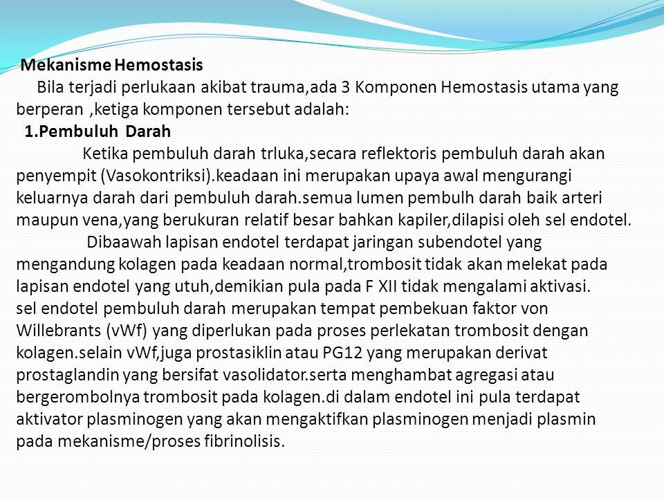 DEFENISI Istilah Hemostasis berasal dari bahasa Yunani (Grecee),yang tersusun dari kata 'Hemo' atau darah dan 'stasis' atau berhenti. Dalam keadaan no