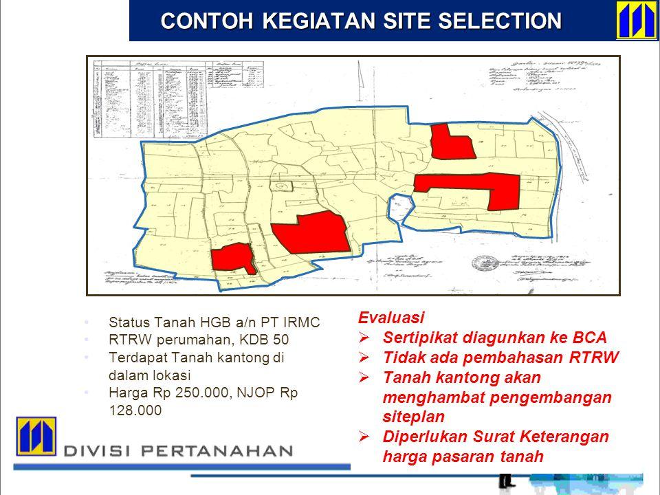 Status Tanah HGB a/n PT IRMC RTRW perumahan, KDB 50 Terdapat Tanah kantong di dalam lokasi Harga Rp 250.000, NJOP Rp 128.000 Evaluasi  Sertipikat dia