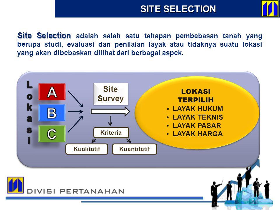 Site Selection Site Selection adalah salah satu tahapan pembebasan tanah yang berupa studi, evaluasi dan penilaian layak atau tidaknya suatu lokasi ya