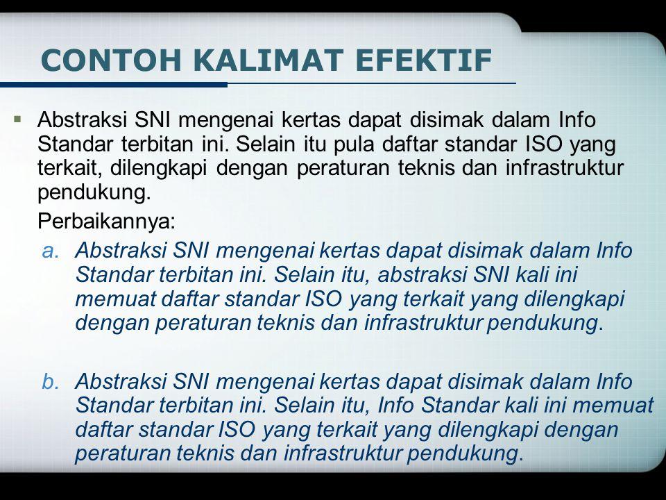  Abstraksi SNI mengenai kertas dapat disimak dalam Info Standar terbitan ini. Selain itu pula daftar standar ISO yang terkait, dilengkapi dengan pera