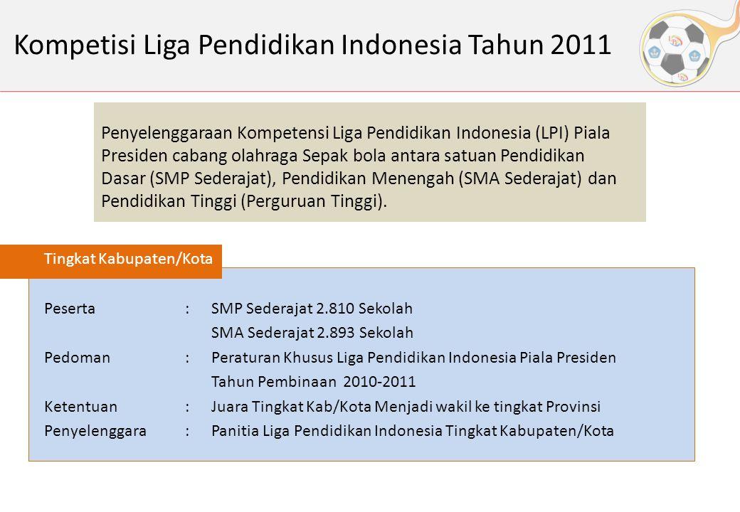 Kompetisi Liga Pendidikan Indonesia Tahun 2011 Tingkat Kabupaten/Kota Peserta:SMP Sederajat 2.810 Sekolah SMA Sederajat 2.893 Sekolah Pedoman:Peratura