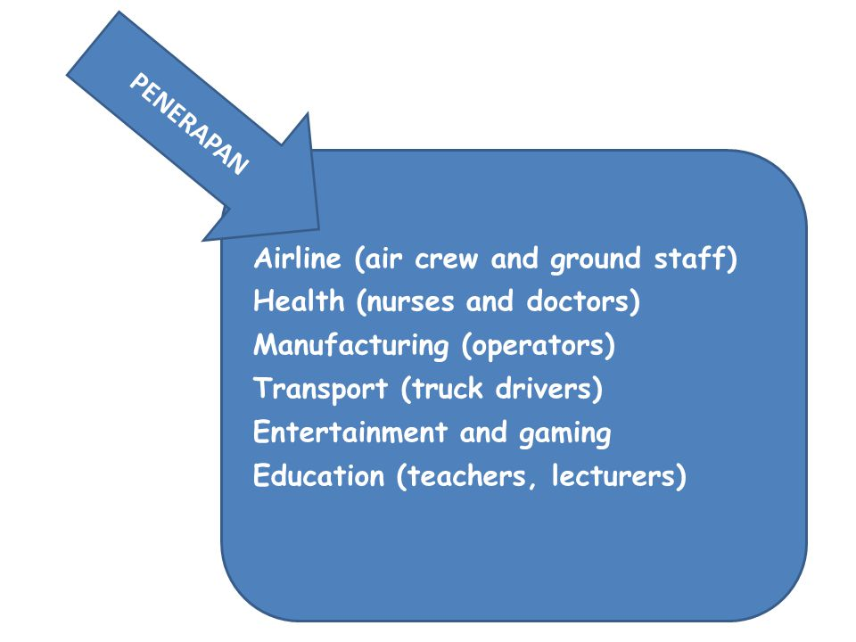 Airline (air crew and ground staff) Health (nurses and doctors) Manufacturing (operators) Transport (truck drivers) Entertainment and gaming Education (teachers, lecturers) PENERAPAN