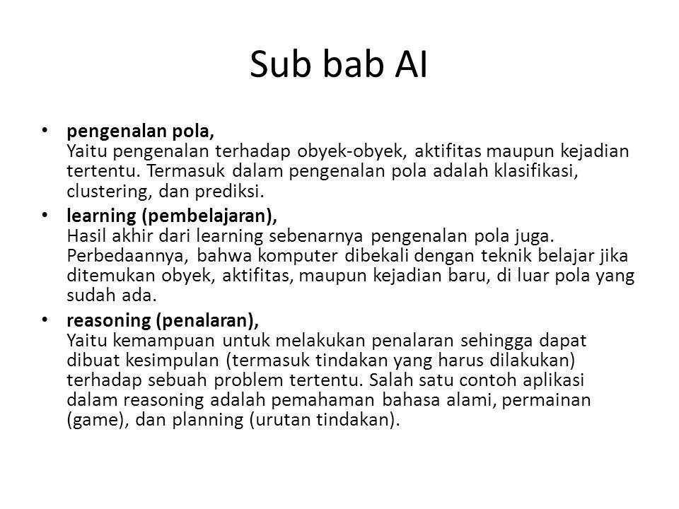 Sub bab AI pengenalan pola, Yaitu pengenalan terhadap obyek-obyek, aktifitas maupun kejadian tertentu. Termasuk dalam pengenalan pola adalah klasifika