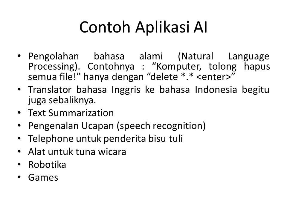 """Contoh Aplikasi AI Pengolahan bahasa alami (Natural Language Processing). Contohnya : """"Komputer, tolong hapus semua file!"""" hanya dengan """"delete *.* """""""
