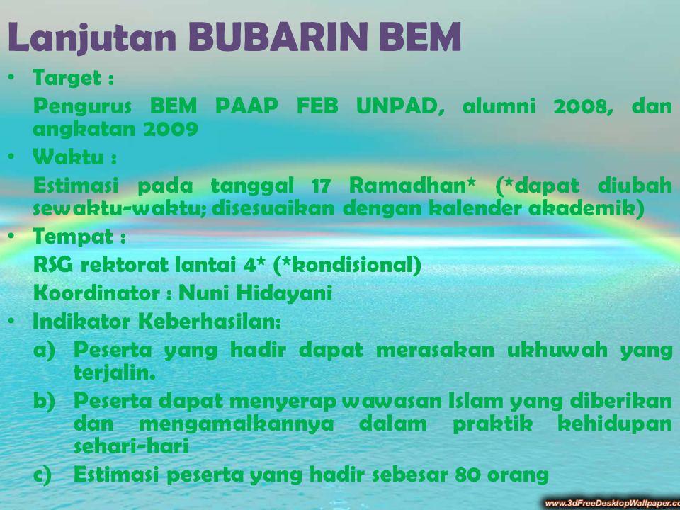 Lanjutan BUBARIN BEM Target : Pengurus BEM PAAP FEB UNPAD, alumni 2008, dan angkatan 2009 Waktu : Estimasi pada tanggal 17 Ramadhan* (*dapat diubah se