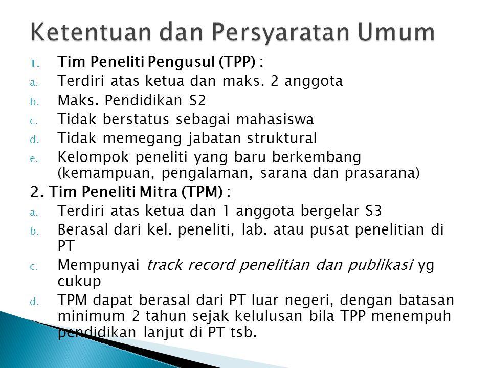 1. Tim Peneliti Pengusul (TPP) : a. Terdiri atas ketua dan maks.