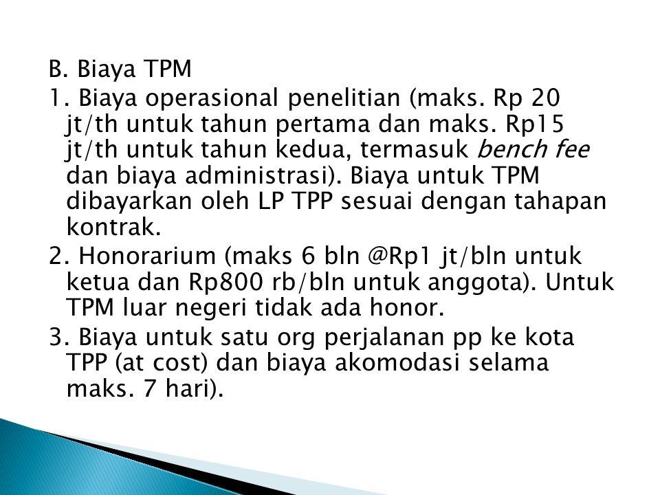 B. Biaya TPM 1. Biaya operasional penelitian (maks.