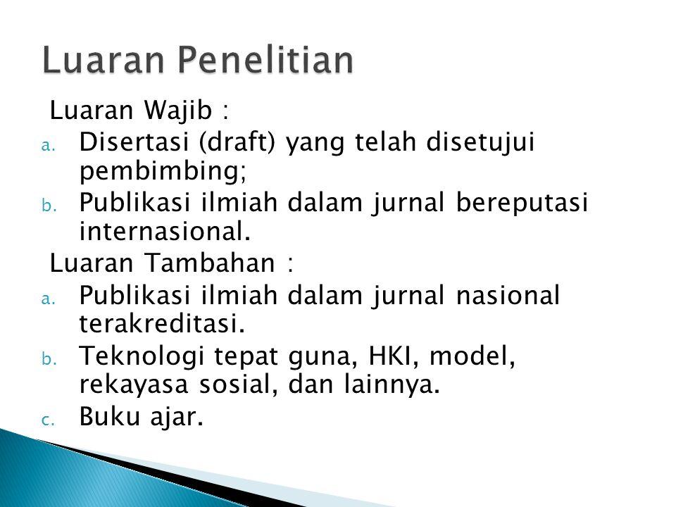 Luaran Wajib : a. Disertasi (draft) yang telah disetujui pembimbing; b.