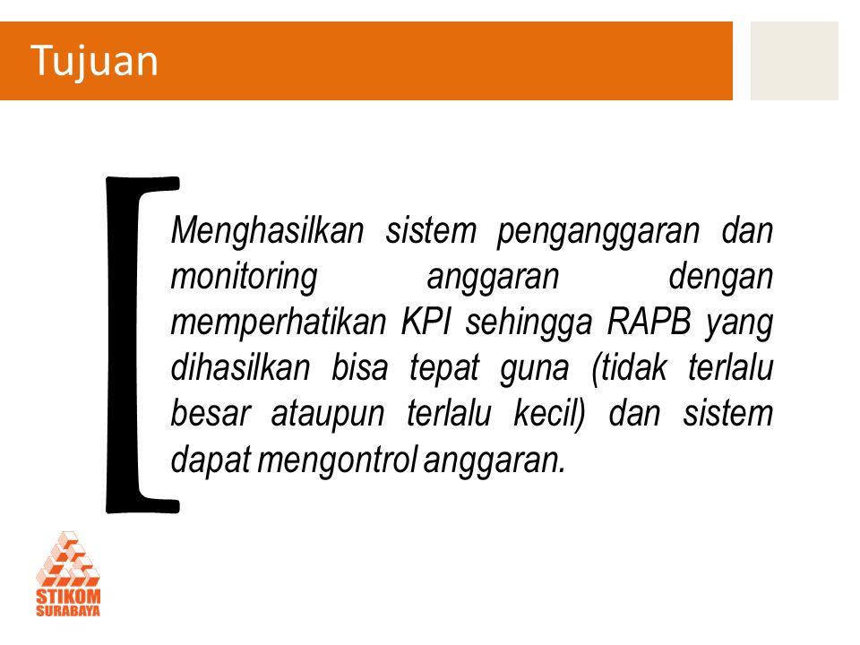 Tujuan Menghasilkan sistem penganggaran dan monitoring anggaran dengan memperhatikan KPI sehingga RAPB yang dihasilkan bisa tepat guna (tidak terlalu