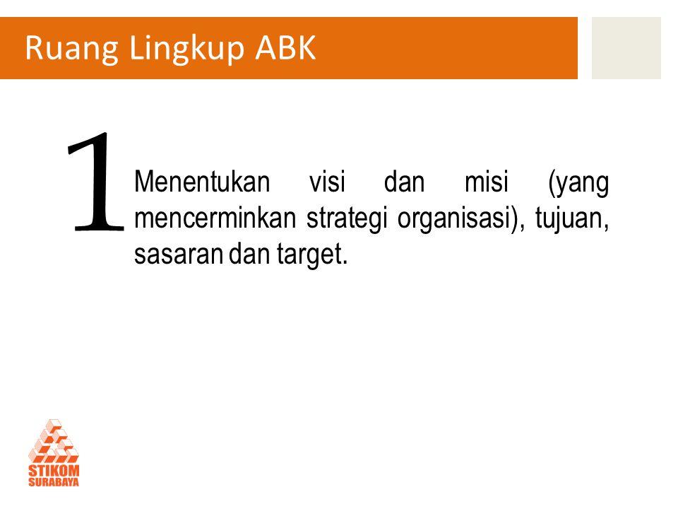 Ruang Lingkup ABK Menentukan visi dan misi (yang mencerminkan strategi organisasi), tujuan, sasaran dan target.