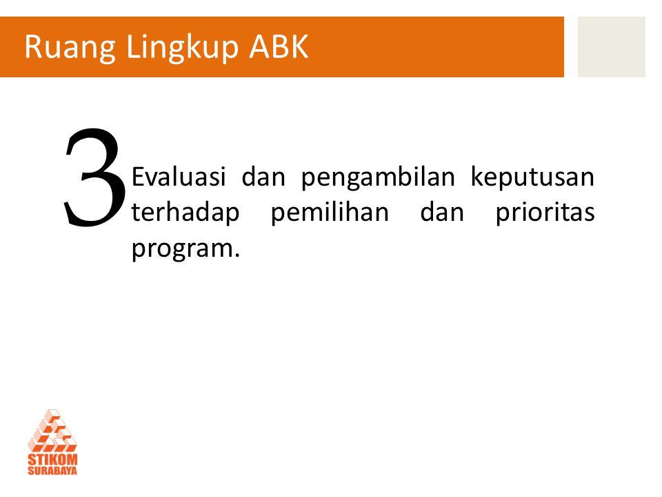 Ruang Lingkup ABK Evaluasi dan pengambilan keputusan terhadap pemilihan dan prioritas program. 3