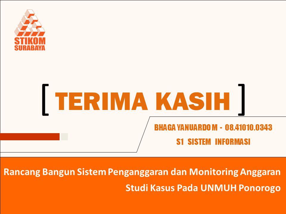 TERIMA KASIH ][ BHAGA YANUARDO M - 08.41010.0343 S1 SISTEM INFORMASI Studi Kasus Pada UNMUH Ponorogo Rancang Bangun Sistem Penganggaran dan Monitoring