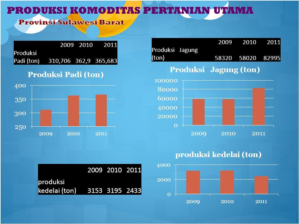 PRODUKSI KOMODITAS PERTANIAN UTAMA 200920102011 Produksi Padi (ton ) 310,706362,9365,683 200920102011 Produksi Jagung (ton)583205802082995 200920102011 produksi kedelai (ton)315331952433