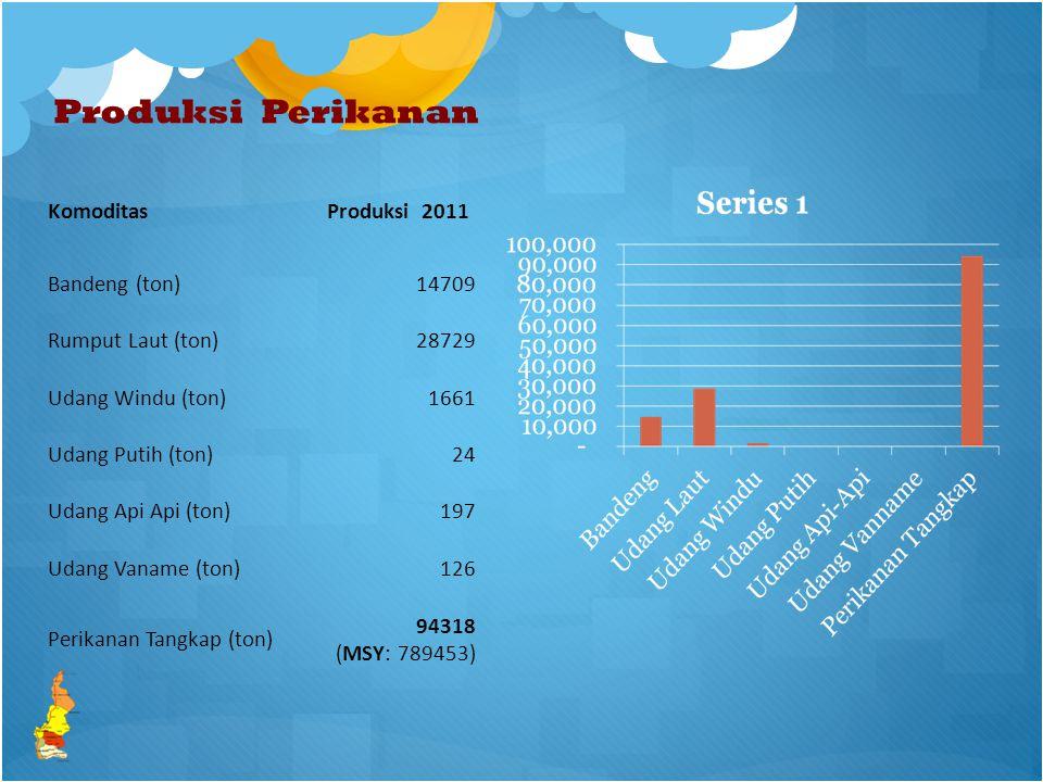 Produksi Perikanan KomoditasProduksi 2011 Bandeng (ton)14709 Rumput Laut (ton)28729 Udang Windu (ton)1661 Udang Putih (ton)24 Udang Api Api (ton)197 Udang Vaname (ton)126 Perikanan Tangkap (ton) 94318 (MSY: 789453)