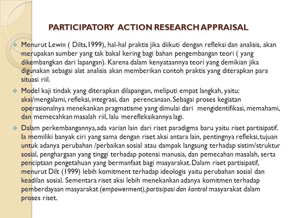PARTICIPATORY ACTION RESEARCH APPRAISAL  Menurut Lewin ( Dilts,1999), hal-hal praktis jika diikuti dengan refleksi dan analisis, akan merupakan sumber yang tak bakal kering bagi bahan pengembangan teori ( yang dikembangkan dari lapangan).