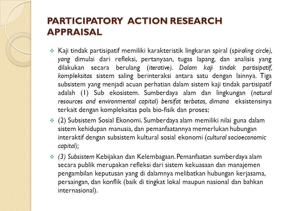 PARTICIPATORY ACTION RESEARCH APPRAISAL  Kaji tindak partisipatif memiliki karakteristik lingkaran spiral (spiraling circle), yang dimulai dari refle