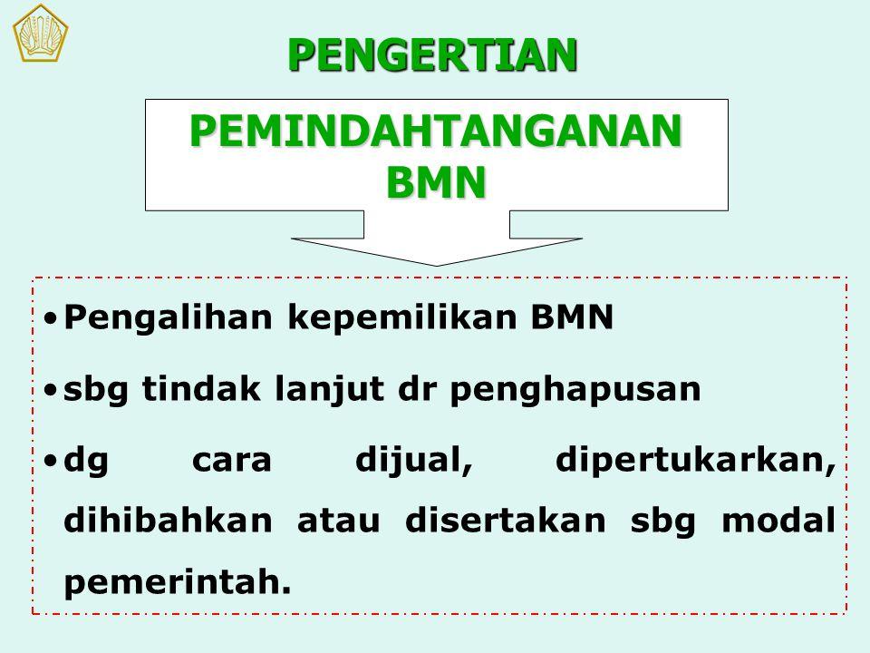 Pengalihan kepemilikan BMN sbg tindak lanjut dr penghapusan dg cara dijual, dipertukarkan, dihibahkan atau disertakan sbg modal pemerintah. PENGERTIAN